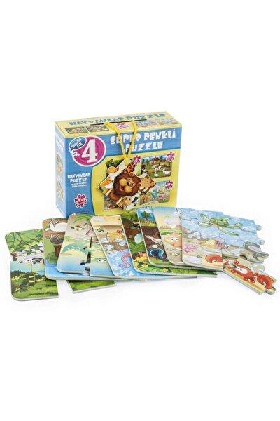 Puzzle Hayvanlar 4ü Bir Kutuda Süper Renkli