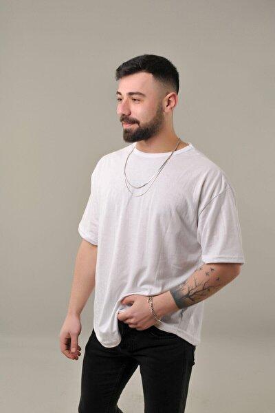 Erkek Beyaz Oval Kesim Oversize T-Shirt
