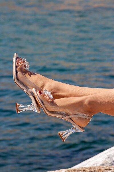 Kadın Ayakkabı Ten Cilt Boncuk Tokalı Şeffaf Topuklu Ayakkabı 7,5 Cm