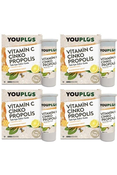 4 Adet Youplus Vitamin C, Çinko, Propolis Efervesan Tablet Takviye