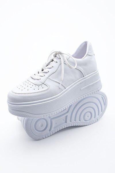 Kadın Sneaker Dolgu Topuk Spor Ayakkabı PinleBeyaz