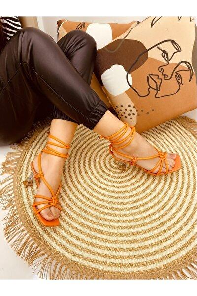 Kadın Turuncu Düğüm Detaylı Topuklu Ayakkabı