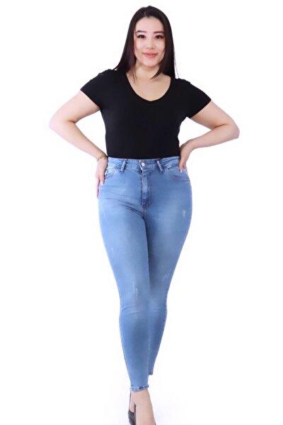 Kadın Mavi Büyük Beden Tırnaklı Likralı Kot Pantolon
