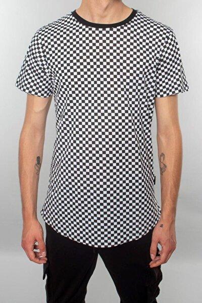 Unisex Siyah Beyaz Mini Kare Desen T-shirt
