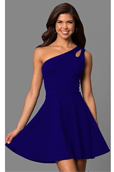 Kadın Mavi  Tek Omuz Detaylı Kiloş Mini Elbise 320