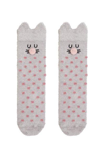 Gri Rabbit Dot Soket Çorabı