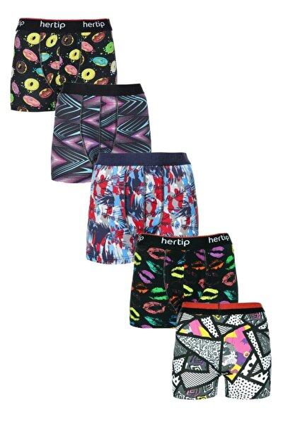 5'li Pamuklu Renkli Premium Boxer Seti