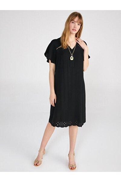 Kadın Siyah V Yaka Kısa Kol Düz Elbise 62212