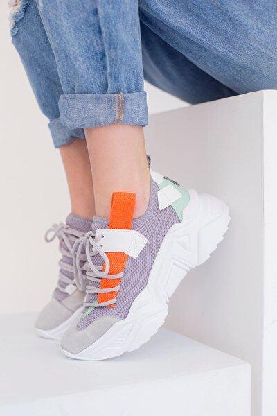 Kadın Gri Turuncu Triko Bağcıklı Spor Ayakkabı