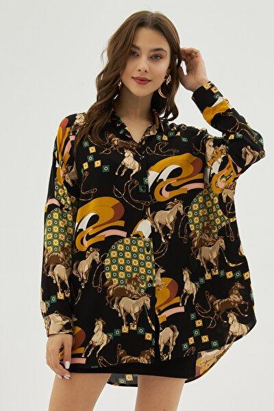 Kadın Siyah Hardal Desenli Oversize Viskon Uzun Kollu Gömlek P21s201-2260