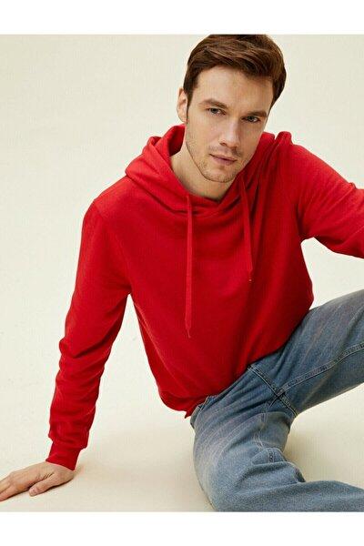 Erkek Kırmızı Kapüşonlu Pamuklu Uzun Kollu Basic Sweatshirt 1yam71750lk