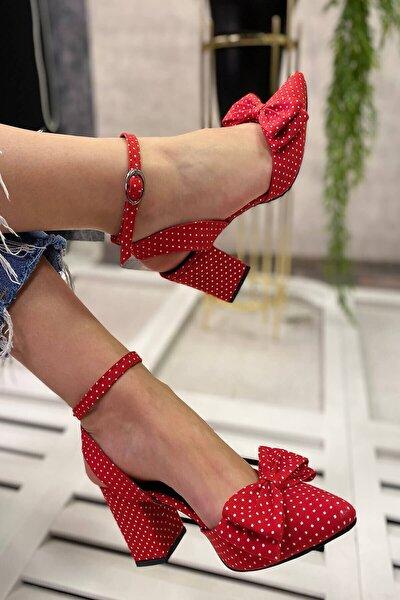 Derin Kırmızı Puantiyeli Günlük Sandalet