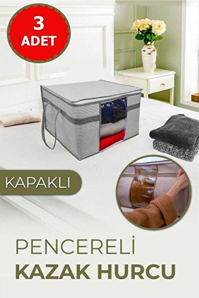 3 Adet Pencereli Kazak Hurcu Sandık Tipi Çok Amaçlı Saklama Çantası 45 X 40 X 30 Cm - Siyah Çizgili