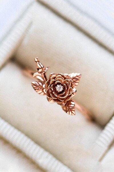 14k Rose Gold Kaplama Gül Motif Taşlı Yüzük