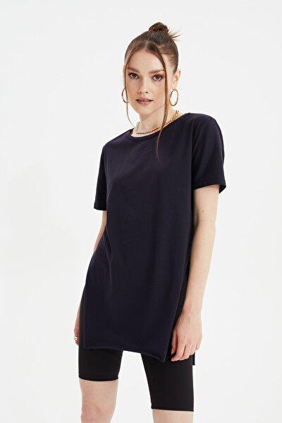 Lacivert Asimetrik Boyfriend Örme T-Shirt TWOSS20TS0829