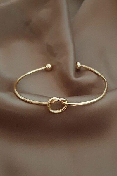 Kadın Altın Düğüm Detay Ayarlanabilir Kelepçe Bileklik
