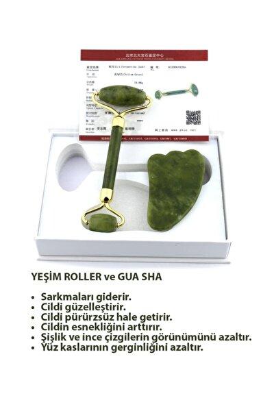 Yeşim Masaj Taşı Jade Roller Gua Sha - 1.sınıf - Set Takım (Sertifikalı)
