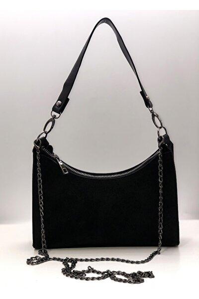 Kadın Siyah Baget Krom Görünümlü Zincirli Çanta