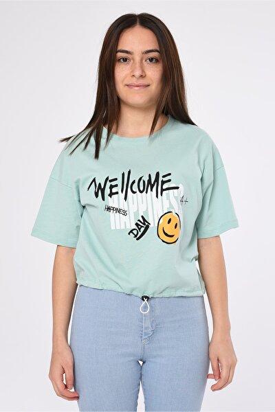 Kadın Yeşil Ucu Lastikli T-shirt