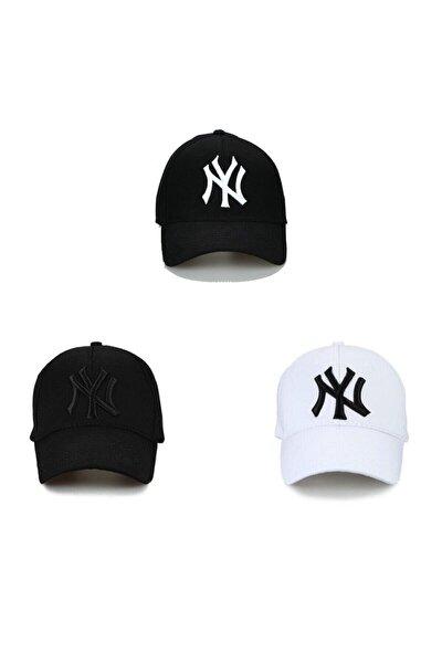 Unisex Siyah Ny Şapka 3'lü Set