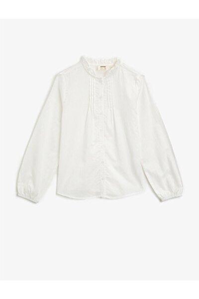 Kadın Beyaz Dik Yaka Düğmeli Uzun Kollu Pamuklu Gömlek