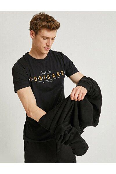 Erkek Siyah Yazılı Kısa Kollu T-Shirt