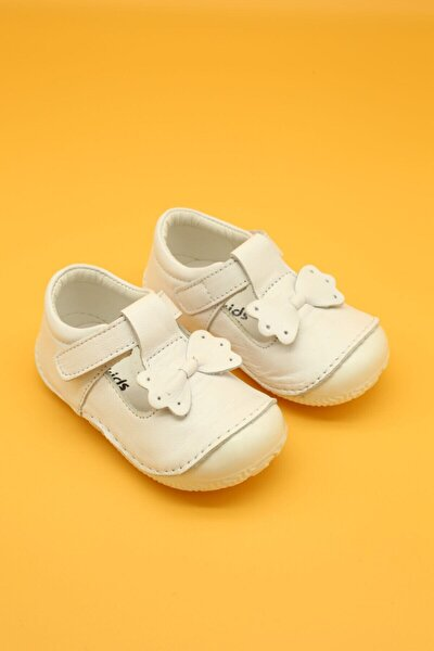 Hakiki Deri Ortopedik İlk Adım Bebek Ayakkabısı Beyaz B109