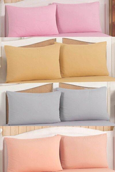 Pamuklu Yastık Kılıfı Kapaklı 4 Renk 8 Adet