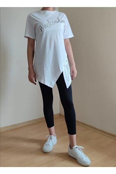Kadın Beyaz Zincir Detay T-shirt