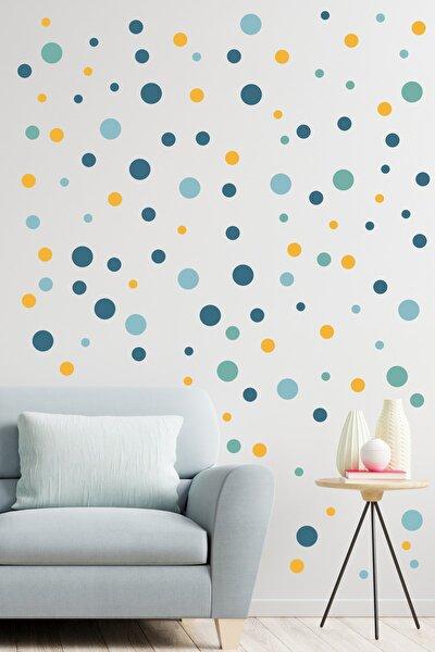 99 Adet Mavi Tonlu Irili Ufaklı Yuvarlak Şekil Duvar Stickerı