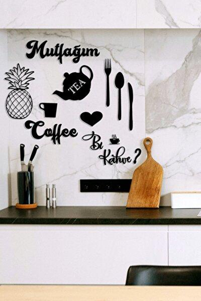 Mutfağım Ananas Ve Bi Kahve Mutfak Konsepti Ahşap Duvar Dekoru