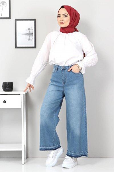 Kadın Bol Paça Püsküllü Kot Pantolon Tsd22050