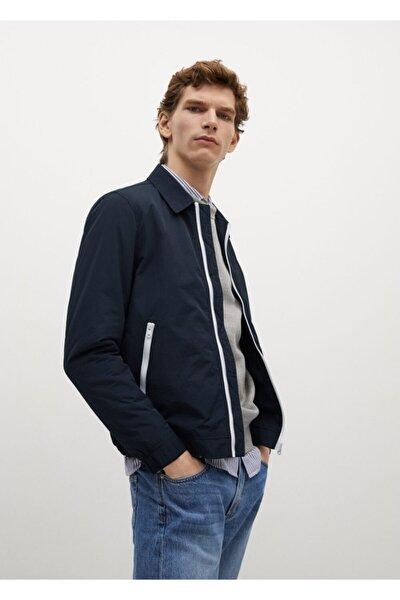 Erkek Lacivert Teknik Kumaşlı Ceket