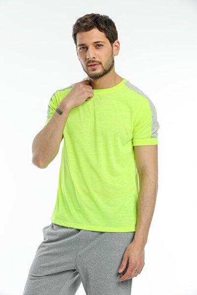 Erkek Neon Yeşil Omuz Şeritli Sporcu T-shirt