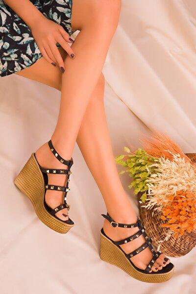 Siyah Kadın Dolgu Topuklu Ayakkabı 16294