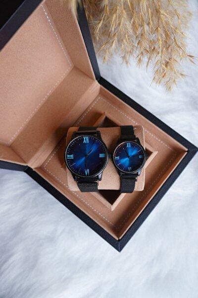 Çift Kol Saati Siyah Hasır Çelik Kordon Renkli Cam Kadın Erkek Kol Saati