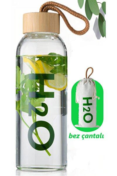H2o Borosilikat Cam Matara Bambu Vakum Kapaklı Su Şişesi Suluk