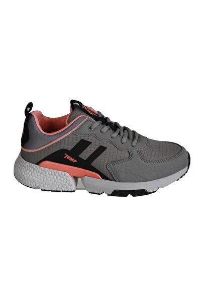 Kadın Gri Kalın Taban Spor Yürüyüş Sneaker Ayakkabı