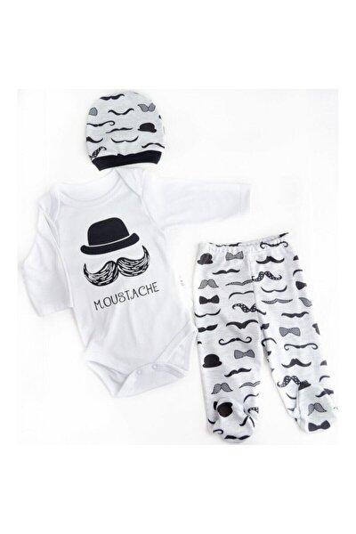Bıyıklı Şapkalı  Erkek Bebek Takımı 3'lü