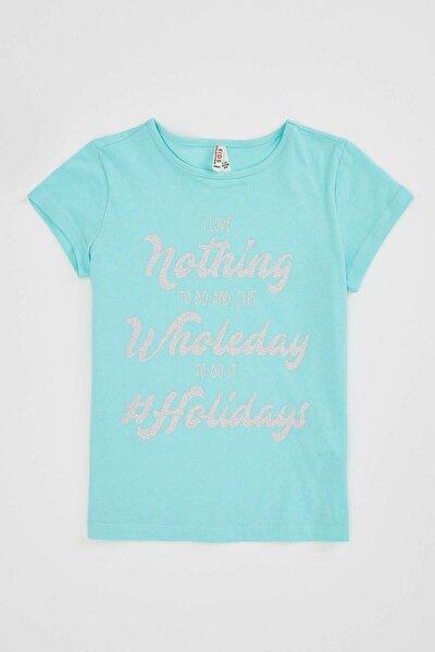 Kız Çocuk Turkuaz  Baskılı Kısa Kollu T-shirt