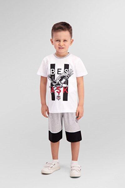 Lisanslı Beyaz Erkek Çocuk Bermuda Takım