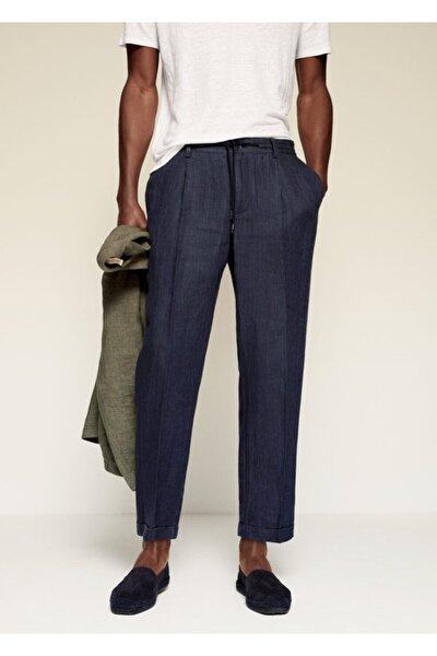 Erkek Lacivert Pilili Keten Pantolon