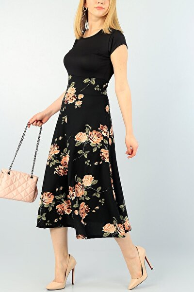 Kadın Siyah Kısa Kollu Çiçek Desenli Midi Boy Günlük Elbise
