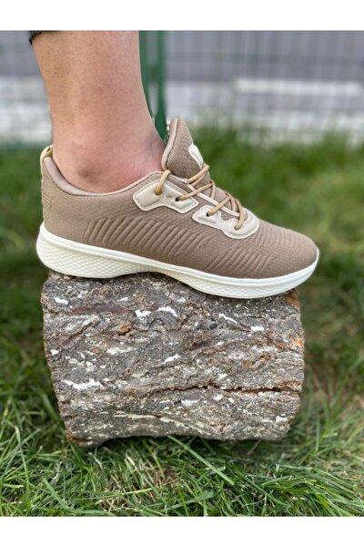 Kadın Bej Triko Spor Ayakkabı