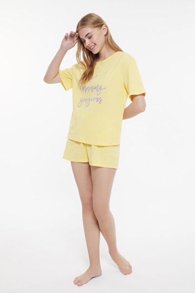 Sarı Baskılı Örme Pijama Takımı THMSS21PT0978