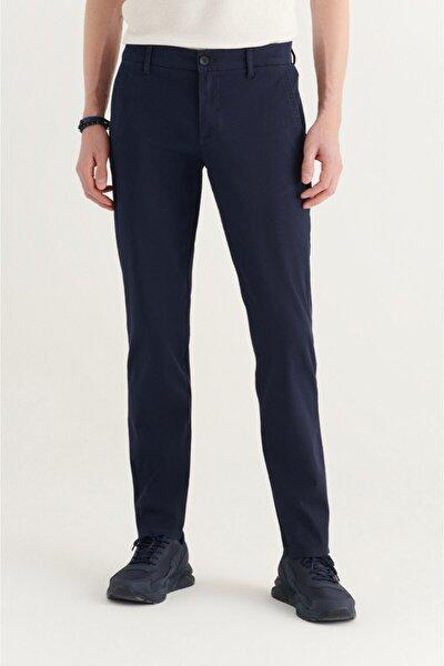Erkek Lacivert Yandan Cepli Armürlü Slim Fit Pantolon A11y3036