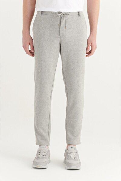 Erkek Gri Yandan Cepli Beli Lastikli Kordonlu Armürlü Relaxed Fit Pantolon A11y3024