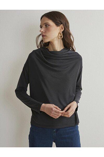 Kadın Siyah Degaje Yaka Uzun Kollu Modal T-shirt