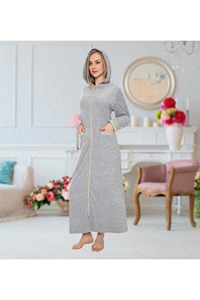 Önü Fermuarlı Kapüşonlu Gri Renk Uzun Havlu Elbise
