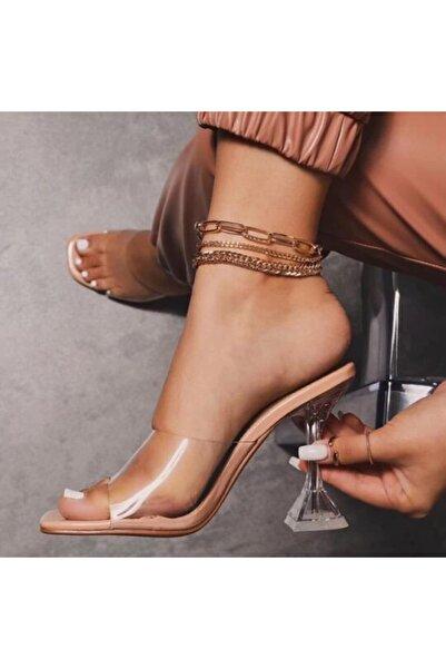 Kadın Nude Ten Bej 8cm Şeffaf Topuklu Küt Kare Burunlu Stiletto Ayakkabı Terlik